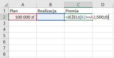 Funkcja Jeżeli Excel - przykład formuły
