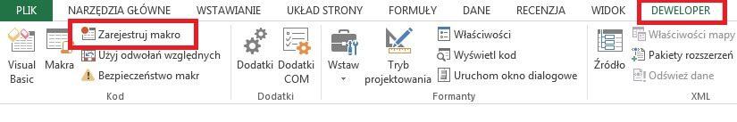 wstążka DEWELOPER programu Excel