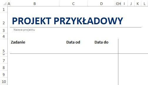 Jak zrobić harmonogram w Excelu - szablon wstępny