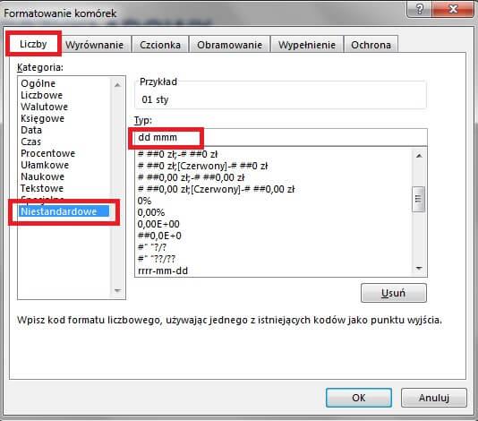 Jak zrobić harmonogram w Excelu - zmiana formatu daty
