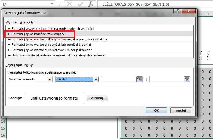 Jak zrobić harmonogram w Excelu - formatowanie warunkowe