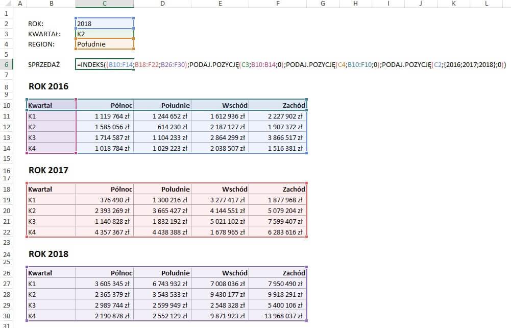 Funkcje: Indeks i Podaj.Pozycję - warunki na podstawie list rozwijanych (forma odwołaniowa)