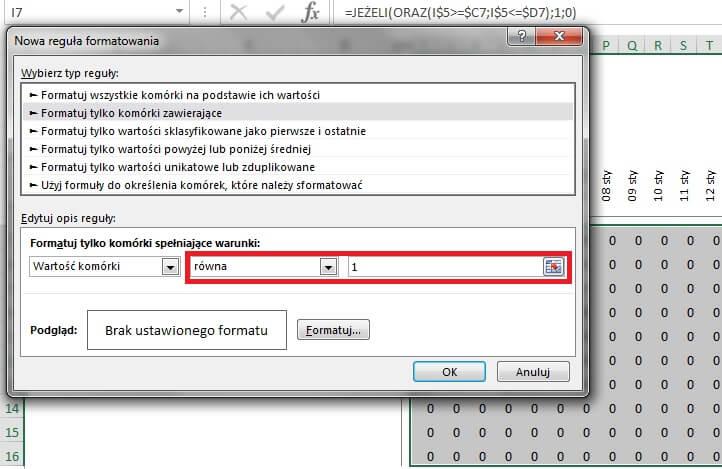 Jak zrobić harmonogram w Excelu - formatowanie warunkowe, komórki zawierające