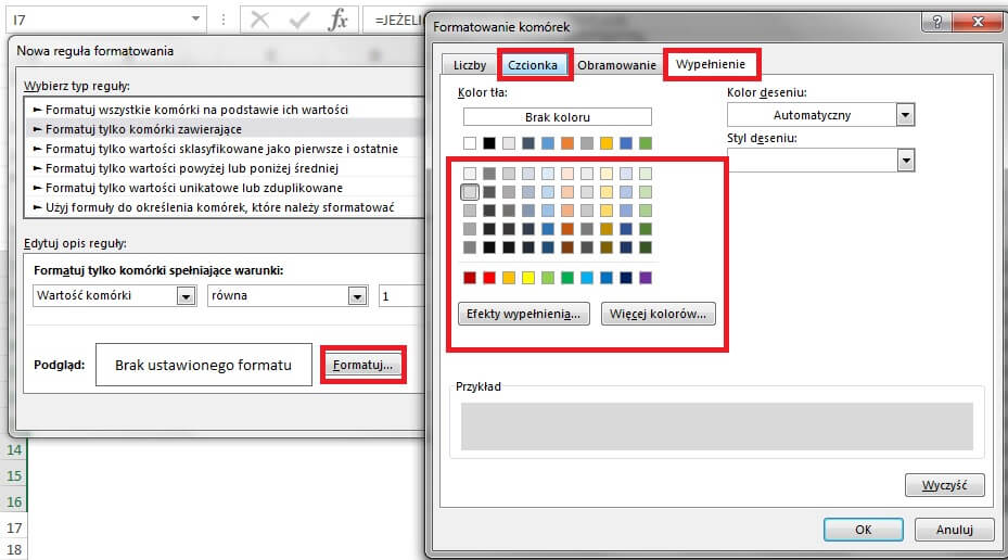 Jak zrobić harmonogram w Excelu - formatowanie warunkowe, zmiana kolorów
