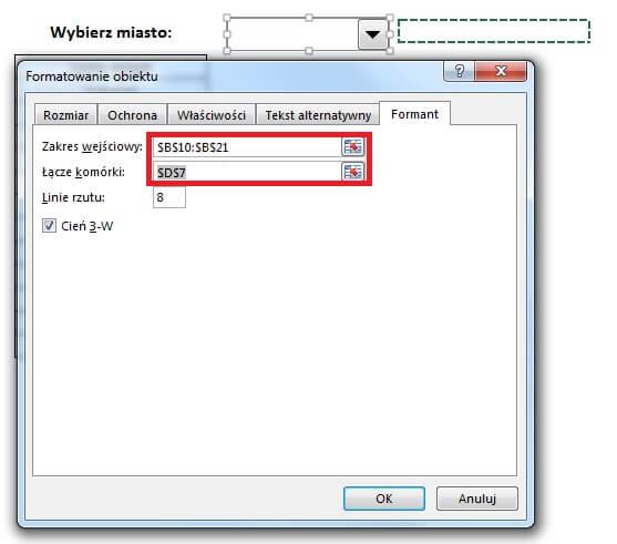 Lista rozwijana -formant formularza - pole kombi