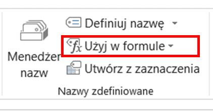 polecenie użyj nazwy w formule