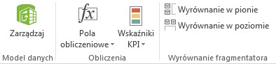 Analiza danych - sekcja Obliczenia na wstążce Power Pivot