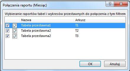 Powiązanie fragmentatora z tabelami przestawnymi