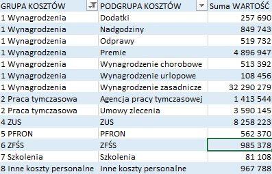 Analiza danych - przykład wykorzystania Power Pivot. Dane w tabeli przestawnej uporządkowane i podsumowane.