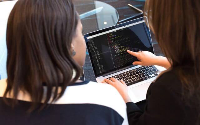 Kobiety programujące na laptopie. Zmienne VBA.