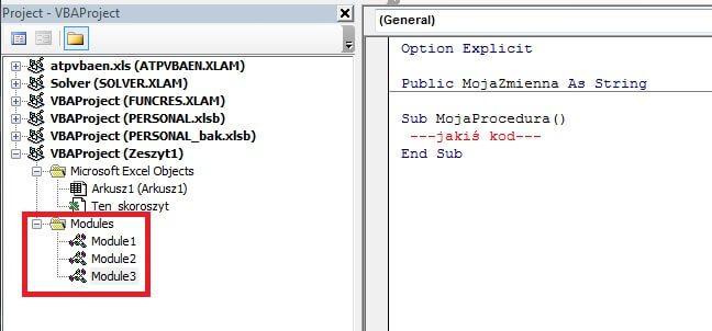Zakres obowiązywania zmiennych VBA. Moduły i procedury.