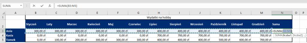 Sumowanie danych w tabeli