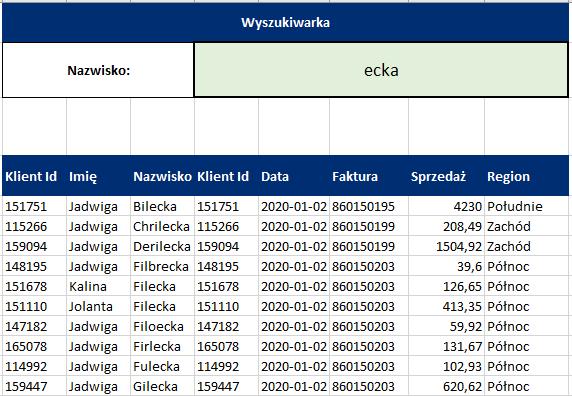 Automatyczne filtrowanie w Excelu - wyszukiwarka